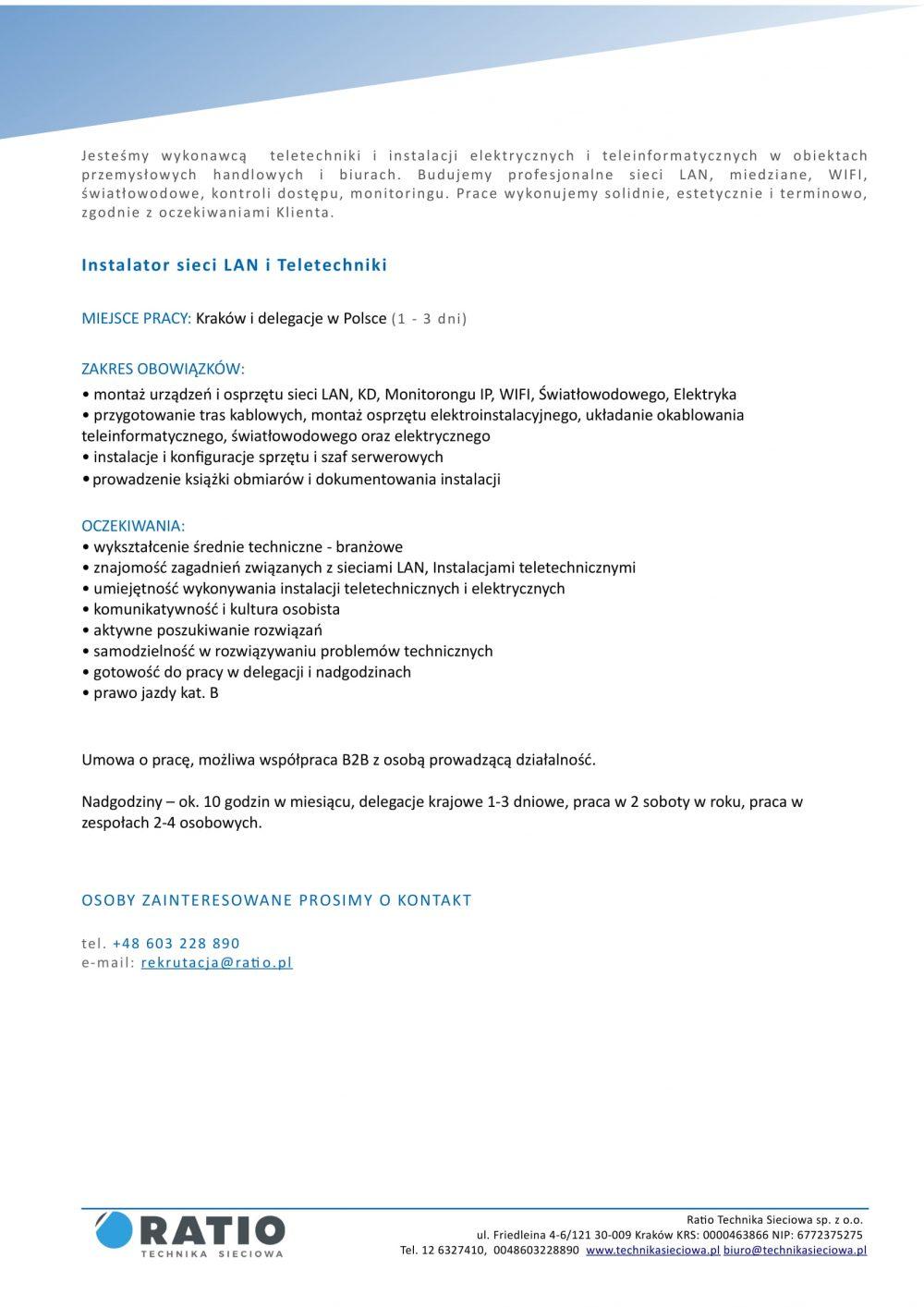 Oferta pracy - Instalator LAN i Teletechniki